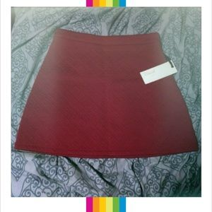 Burgundy Wine Color High Waisted Skater Skirt XS